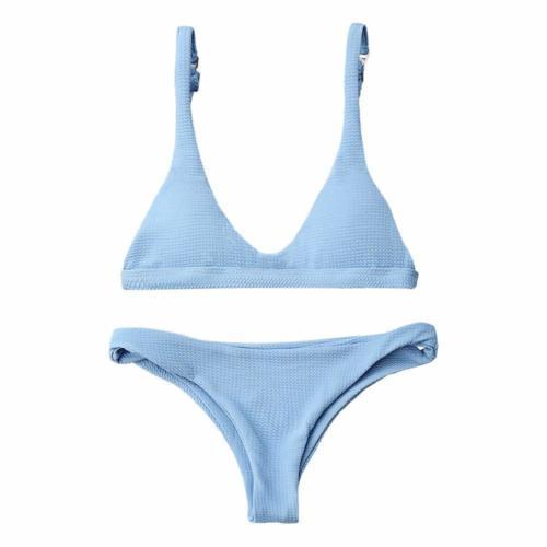 scoop neck bikini with revealing bottom