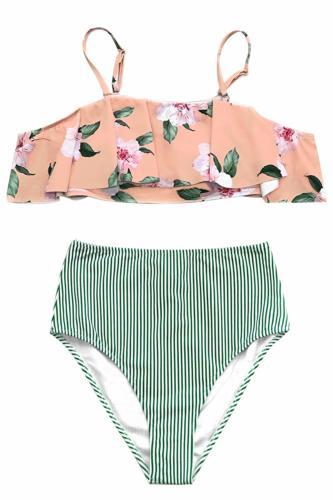high waist Hawaiian style bikini